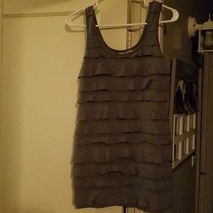 Fun, Flirty Ruffel Gray Mini Dress